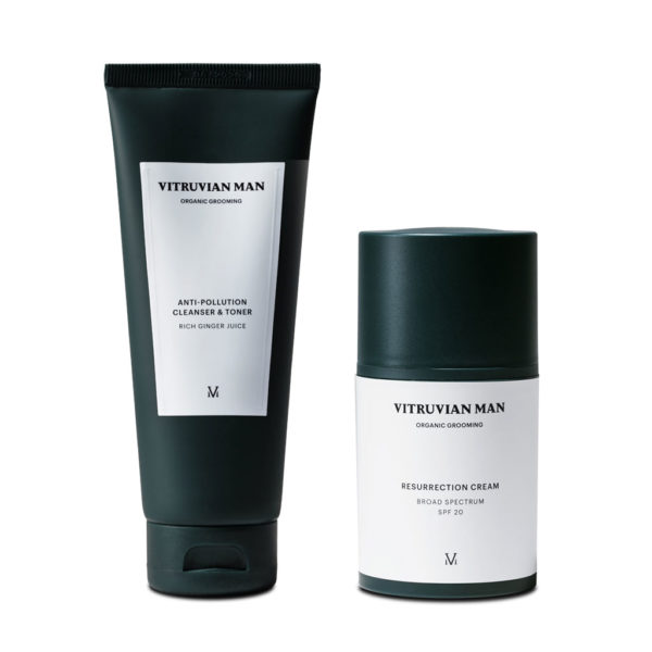 Vitruvian man pollution cleanser