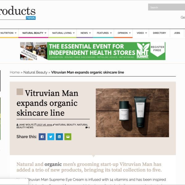 Natural Products Vitruvian Man organic skincare line