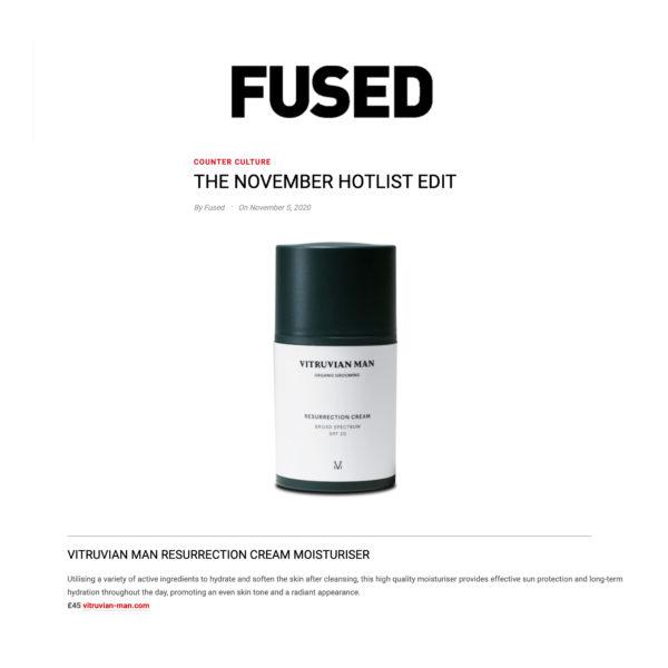 FUSED Magazine featuring Vitruvian Man Skincare