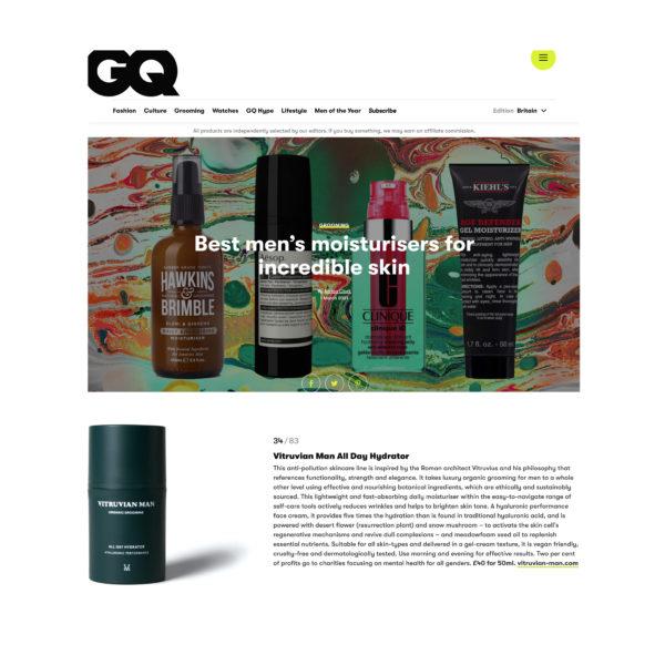 GQ's Best Moisturizer for Men featuring Vitruvian Man Skincare